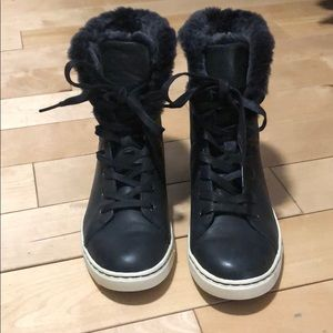 Black Ugg Lace Front Sneaker Boots